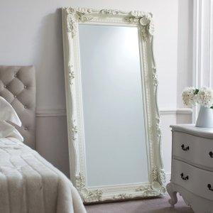 Gallery Direct Carved Louis Leaner Rectangular Mirror - Cream 89.5cm X 175.5cm, Matt Cream