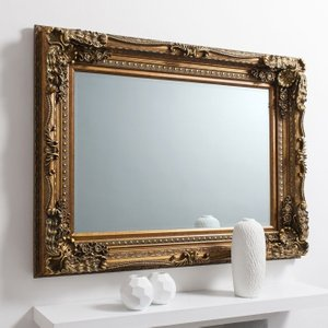 Gallery Direct Carved Louis Gold Rectangular Mirror - 89.5cm X 120cm, Gold