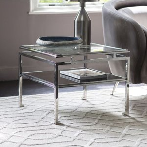 Gallery Direct Cosenza Large Side Table - Glass And Silver Metal, Silver