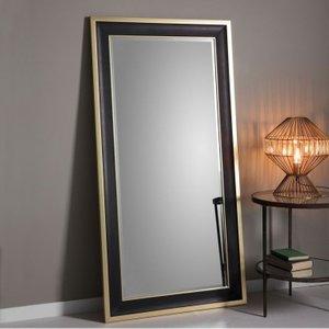 Gallery Direct Edmonton Leaner Rectangular Mirror - 80cm X 156cm, Black and Gold