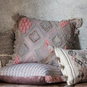 Gallery Direct Farha Embroidered Cushion (set Of 2) - Dusky Blush 45cm X 45cm, Dusky Blush