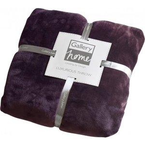 Gallery Direct Flannel Fleece Throw - Plum, Plum