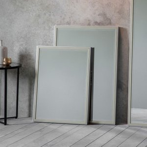 Gallery Direct Floyd Leaner Rectangular Mirror - 50cm X 70cm, Pewter and Champagne Gold