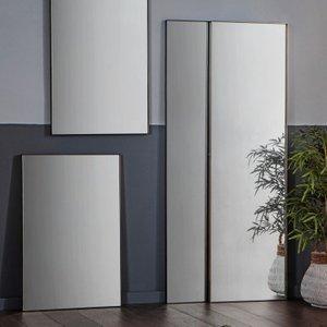Gallery Direct Hurston Leaner Rectangular Mirror - Black 50cm X 170cm, Black