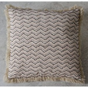 Gallery Direct Johari Embroidered Cushion (set Of 2) - Natural 45cm X 45cm, Natural and Black
