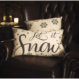 Gallery Direct Let It Snow Metallic Printed Cushion (set Of 2) - 50cm X 30cm, Metallic