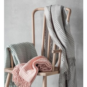 Gallery Direct Linear Pleat Throw - Silver, Silver