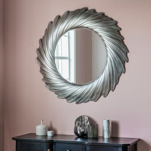 Gallery Direct Lowry Round Mirror - Silver 100cm X 100cm, Silver