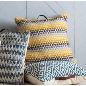 Gallery Direct Malmo Floor Cushion (set Of 2) - Yellow And Grey 75cm X 75cm, Yellow and Grey