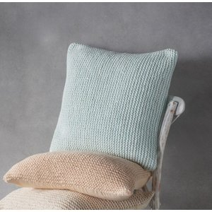 Gallery Direct Opal Knitted Cushion (set Of 2) - Duck Egg 45cm X 45cm, Duckegg