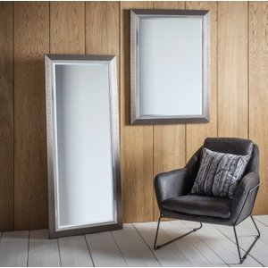 Gallery Direct Rylston Leaner Rectangular Mirror - 66cm X 155cm, Brushed Metal and Chrome