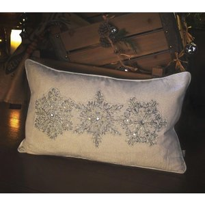 Gallery Direct Shimmering Snowflakes Embroidered Cushion (set Of 2) - Cream 30cm X 50cm, Embroidered Cream