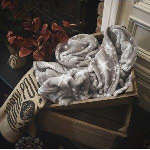 Gallery Direct Snowflake Flannel Fleece Throw - Silver, Silver