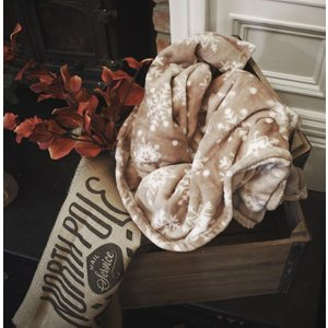 Gallery Direct Snowflake Flannel Fleece Throw - Taupe, Taupe