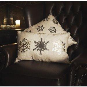 Gallery Direct Snowflake Trio Metallic Printed Cushion (set Of 2) - 50cm X 30cm, Metallic Printed