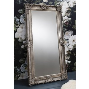 Gallery Direct Stretton Silver Leaner Rectangular Mirror - 88cm X 177cm, Antique Silver