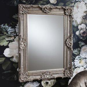 Gallery Direct Stretton Rectangular Mirror - Silver 88cm X 118cm, Antique Silver