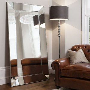 Gallery Direct Vasto Leaner Rectangular Mirror - Silver 91.5cm X 183cm, Silver