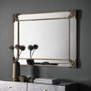 Gallery Direct Wilson Rustic Gold Rectangular Mirror - 83cm X 114cm, Gold