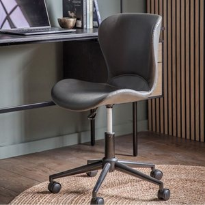 Gallery Direct Gallery Mendel Charcoal Swivel Chair, Charcoal