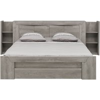 Gami Eden Grey Oak Bed With Bookcase Headboard, Grey Oak