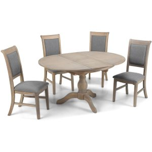 Hermitage Furniture Georgina Grey Washed Oak Round Extending Dining Table And Chairs, Oak Veneers