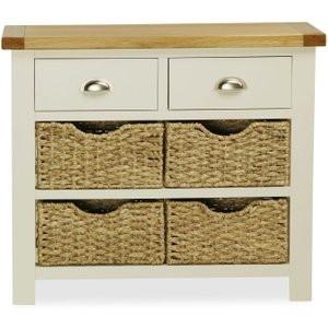 Global Home Suffolk Oak And Buttermilk Painted Console Table With Baskets
