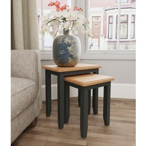 Essentials By Scuttle Interiors Graceton Oak And Grey Painted Nest Of 2 Tables, Oak and Grey Painted