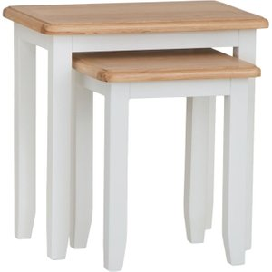 Essentials By Scuttle Interiors Graceton Oak And White Painted Nest Of 2 Tables