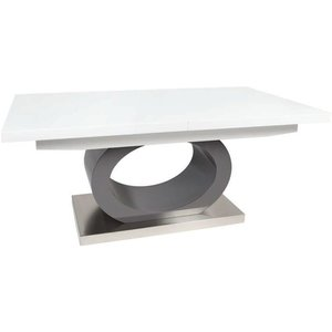 Greenapple Furniture Greenapple Saturn Glass Top Extending Dining Table - White High Gloss And Grey, White High Gloss and Grey