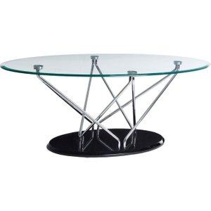 Premier Housewares Halo Oval Coffee Table - Chrome And Glass