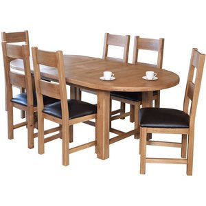 Furniture Now Hampshire Oak Oval Extending Dining Table, Natural