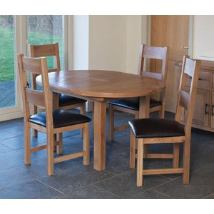 Furniture Now Hampshire Oak Round Extending Dining Table And 4 Padded Seat Chairs, Natural