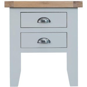 Scuttle Interiors Hampstead Oak And Grey Painted 2 Drawer Lamp Table