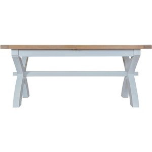 Scuttle Interiors Hampstead Oak And Grey 180cm Painted Extending Dining Table, Lime Washed Oak and Grey Painted