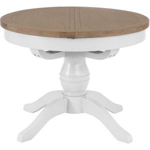 Scuttle Interiors Hampstead Oak And White Painted Round Butterfly Extending Dining Table