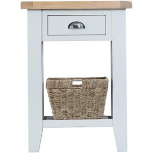 Scuttle Interiors Hampstead Oak And White Painted 1 Drawer Telephone Table, Lime Washed Oak and White Painted