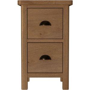 Scuttle Interiors Hampton Rustic Oak Narrow Bedside Cabinet, Rustic Oak