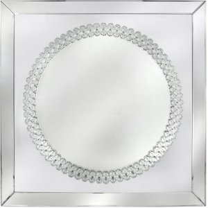 Deco Home Harkup Crystal Square Wall Mirror - 100cm X 100cm