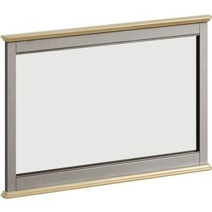 Classic Furniture Harmony Oak And Grey Painted Rectangular Mirror - 100cm X 67.6cm, Grey Painted