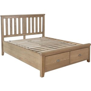 Signature By Scuttle Interiors Hatton Oak Storage Bed With Wooden Headboard, Smoked Oak