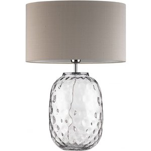 Heathfield And Co Heathfield Bubble Clear Glass Table Lamp With Pebble Silk Shade, Clear and Polished Chrome