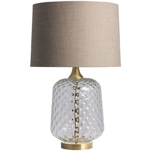 Heathfield And Co Heathfield Risco Clear Glass Table Lamp With Birch Linen Shade, Clear and Birch