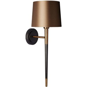 Heathfield And Co Heathfield Veletto Brushed Brass Wall Light With Praline Satin Shade, Black Satin and Brushed Brass