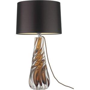 Heathfield And Co Heathfield Zoffany Naiad Amber Glass Table Lamp With Chocolate Satin Shade, Amber and Polished Chrome