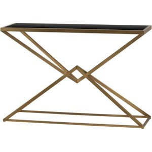 Hill Interiors Antique Bronze And Black Glass Top Contemporary Console Table