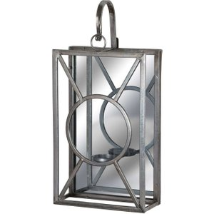 Hill Interiors Antique Silver Rectangle Mirrored Tealight Holder, Antique Silver