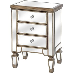 Hill Interiors Belfry 3 Drawer Mirrored Bedside Cabinet, Gold