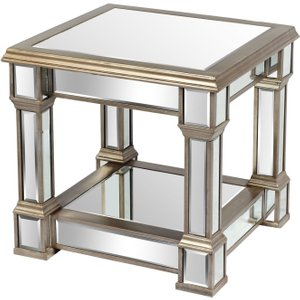 Hill Interiors Belfry Mirrored Side Table, Antique Gold
