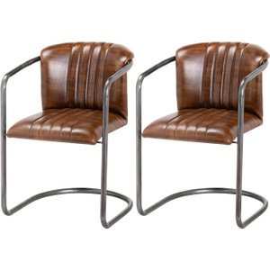 Hill Interiors Billy Brown Leather Dining Chair (pair)